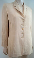 AKRIS Beige & Cream Checked Wool & Silk Blend Tailored Blazer Jacket US10 UK14