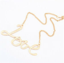 Women Gold Love Letter Words Chain Necklace Alloy Pendant Charm Jewelry