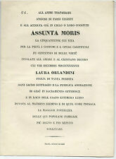 Documento Elogio Funebre Assunta Moris Epigrafista Prof. Luigi Muzzi Prato 1847