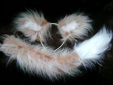 Cream / Beige Fox Ears And Tail Set Long Tail Luxury Faux Fur Foxy Fancy Dress