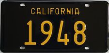 1948 California style novelty license plate, black background!