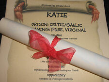 40 PERSONALISED NAME MEANING SCROLLS PLACE CARD IDEA WEDDING BIRTHDAY COMMUNION