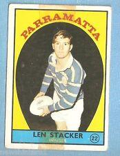 1968 - 1  SCANLENS RUGBY LEAGUE CARD #22  LEN STACKER, PARRAMATTA