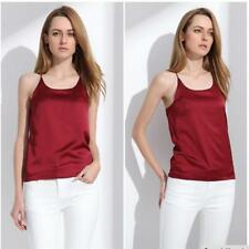 Women Silk Vest Sleeveless Cool Tank Top Crossed Sling Shirt Sun-top Oversize BS