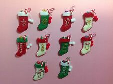 Dollhouse Miniature Hand Stitched Christmas Stockings 1:12 Scale