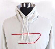Men's DIESEL Hoodie Sweater, Size M Medium, White, Cotton hooded jumper #BL1046