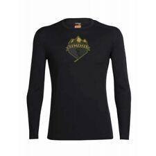 Icebreaker Oasis Ski Crest LS Crew Tee (M) Black