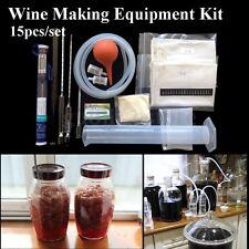 15Pcs/Set Home Wine Making Equipment Beginner Kit DIY Home Brew Brewing Supplies