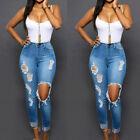 Mujeres Skinny cintura alta Vaquero pantalones rasgados Rodilla Largo