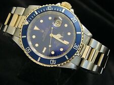 Rolex Submariner Date Mens 18k Yellow Gold & Steel Watch Blue Dial Bezel 16613