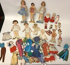 HUGE VINTAGE PAPER DOLL STAND UP FIGURE & CLOTHES LOT COLLECTION SANTA BABY ++++