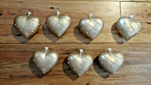 Satin Gold Glass Heart Ornaments Set Of 7