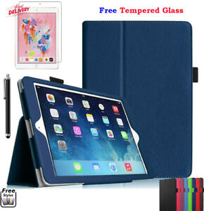 Smart Flip Folio Magnetic Leather Stand Case + Tempered Glass for iPad 5th 2017