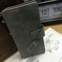 Genuine Leather Multi functional Wallet Book Case Grey For Sony Xperia XA1