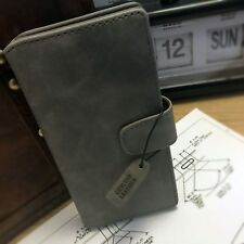 Genuine Leather Multi functional Wallet Book Case ION Grey For Sony Xperia XA1