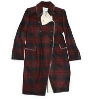 Pierre Balmain - New - $1800 Long Shearling Coat - Red Black Plaid - US 0 - 34