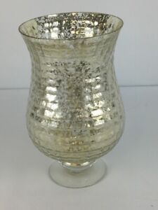 Diamond Star Corp Gold Metallic Speckled Centerpiece Candleholder Glass Large