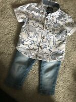 Baby Boys Dinosaur Shirt And Jeans Outfit Set Age 0-3 Months