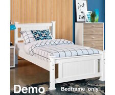 White Single Bed Timber Bedframe Pine Wood Slats Wooden Children Adults Sleep