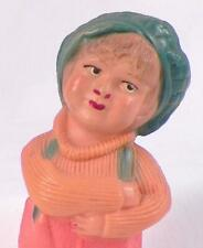 Little Boy Doll Celluloid Overalls Newsboy Hat Crossed Arms Vintage 5.5in. As Is