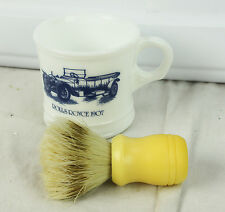 Vintage Milk Glass Rolls Royce 1907 Shaving Mug Cup & Bakelite Brush Surrey