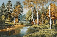"""28"""" WALL JACQUARD WOVEN TAPESTRY Autumn Birch Forest EUROPEAN LANDSCAPE PICTURE"""
