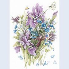 LANARTE Marjolein Basin Counted Cross Stitch Kit IRISES Flowers Aida Fabric