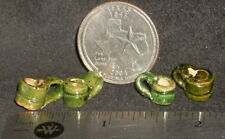 Dollhouse Miniature Green Glazed Mexican Mugs Cups Folk Art 1:12 #5590 Will vary