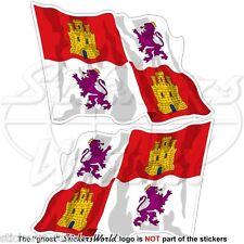 CASTIGLIA e LEON Bandiera Onda SPAGNA Castilla y León Adesivi 75mm Stickers x2
