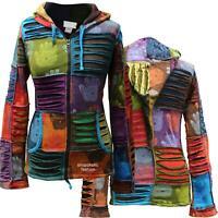 Women's Henna Hand Rib Hoodie Multicoloured Boho Hippie Cotton Jacket Goth