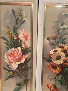VINTAGE TURNER WALL PICTURES / PINK ROSES / ZINNIAS / COTTAGE ART DECO / 1960'S