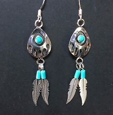 Bear Paw Earings with Turquoise & Feathers (Sterling Silver)