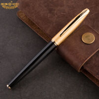 Classic HERO 1000 Fountain Pen Gold Pen 10K Solid Gold Nib Hooded Golden Cap NEW