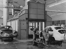 Porsche 356 Coupe 1950s construction in Porsche factory –sanding bodywork- photo