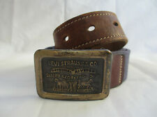 RARE VINTAGE 1980's Levi Strauss Brass Buckle with Leather and Canvas Belt sz 32