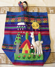 Brand New From Peru Cotton Blended Handmade 3 D Patchwork Design Backpack #6544