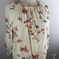 Singwing Women's Long Sleeve Top Blouse Plus Size 3XL (26) Cream Red Navy Birds