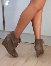 Zara Beige Nude Suede Lace Up Wedge Heel Ankle Boots 7.5 41