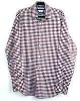 TM Lewin Men's Red Blue White Check Long Sleeve Shirt Button Up Shirt Size M