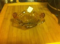 AMBER ART GLASS BOWL EXCELLENT CONDITION  BEAUTY