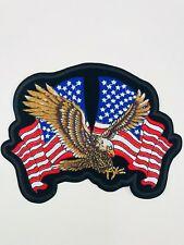 American Eagle Biker Patches Embroidered Cloth Applique Badge Iron On / Sew On