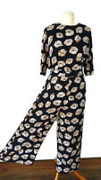 Warehouse Size 10 Navy Blue White Floral 1/2 Sleeve Cropped Jumpsuit Holiday