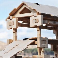 Timberworks Toys Interlocking Wooden Blocks Set - Covered Bridge