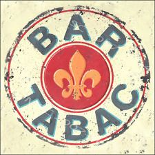 Bar Tabac Metal Sign, Retro French night club with fleur de Lis kitchen decorate