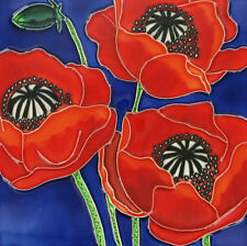 "Three Poppies Flowers Floral Ceramic Picture Tile Wall Plaque Kitchen 8x8"" 05033"
