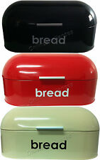 AMERICAN STYLE BREAD BIN CURVED STEEL ROLL TOP KITCHEN FOOD STORAGE IN 3 COLOUR