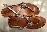Miss Trish of Capri Silver Jeweled Thong Sandals