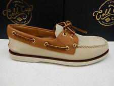 SPERRY MENS BOAT SHOE GOLD CUP A/O 2-EYE IVORY TAN SIZE 9