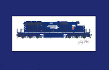"Missouri Pacific SD40-2 11""x17"" Matted Print by Andy Fletcher signed"