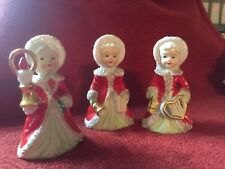 Antique Lot of 3 Vintage Japan Ceramic Christmas Spaghetti Trim Angel Bells